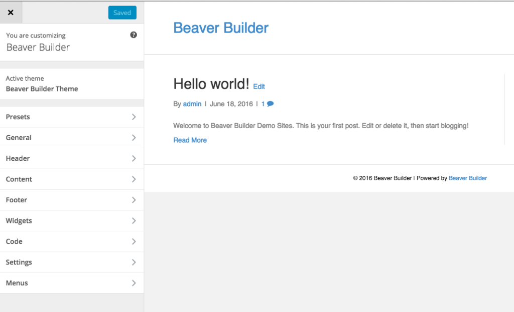Beaver Builder Theme Customizer